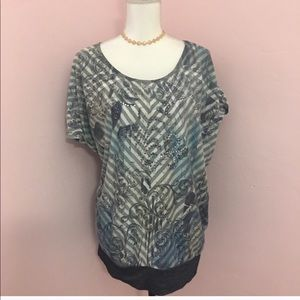 Chico's Blue/Gray stripes Blouse Size 3= XL